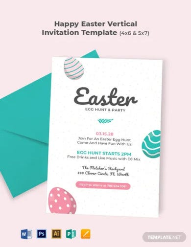 happy easter vertical invitation template