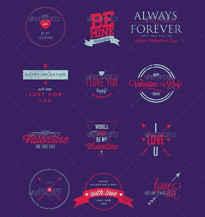 happy valentine day badges stickers insignias