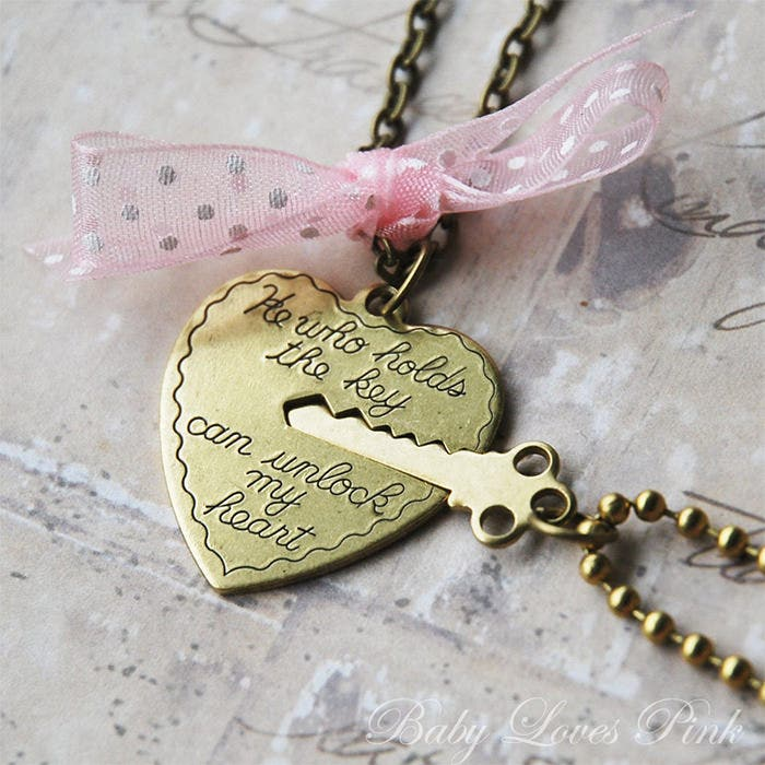 heart and key couples necklace