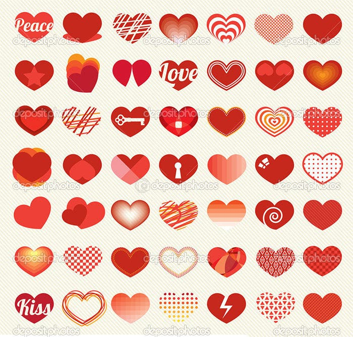 heart and love labels