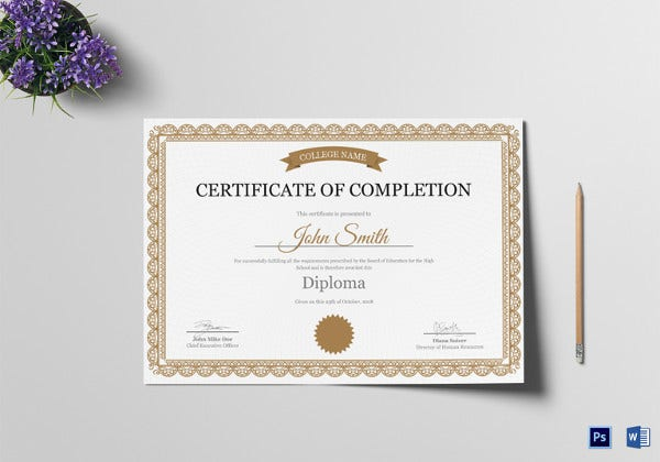 high school certificate of completion template