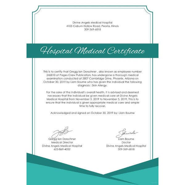 hospital medical certificate template1