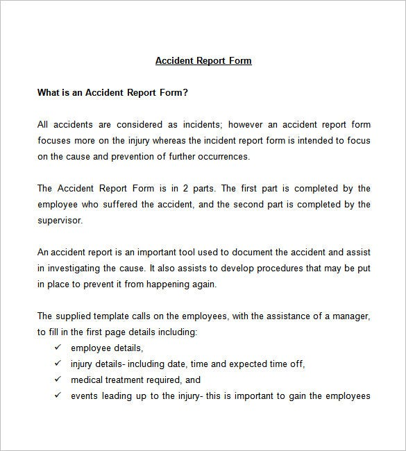 Incident Investigation Report Template  Incident Report Form Template Word