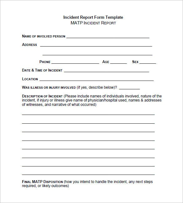 Incident Report Template 33 Free Word PDF Format Download – Incident Report