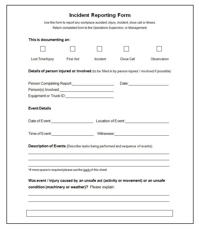 Incident Report Template  Injury Incident Report Form Template