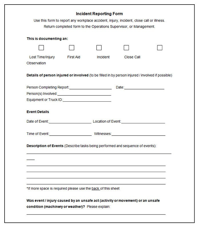 employee incident report form template .