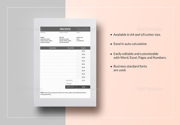 invoice example sample