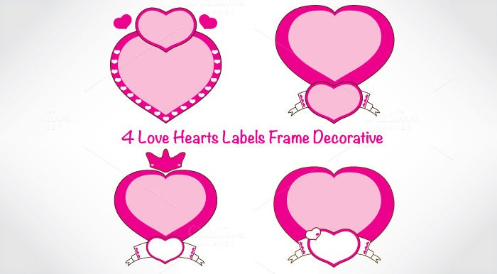 love hearts labels frame decorative