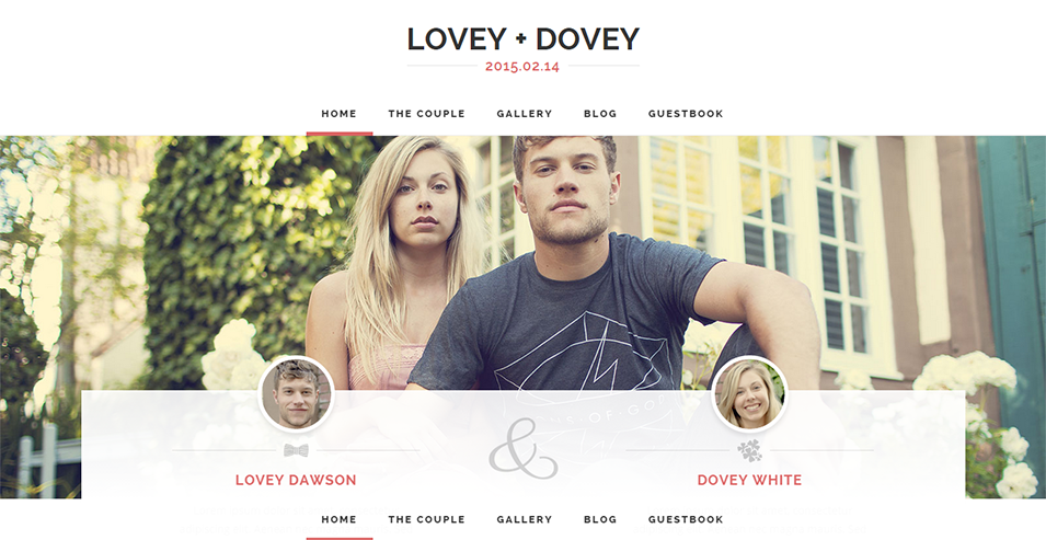 lovey dovey responsive wordpress wedding theme