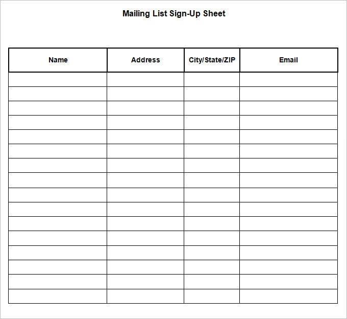Mailing List Template Sign up Mailing List Sign up Sheet