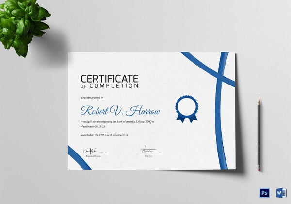 Marathon Achievement Certificate Of Completion Template  Certificates Of Completion Templates