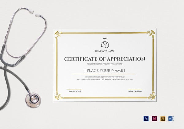 Medical Appreciation Certificate Template  First Aid Certificate Template