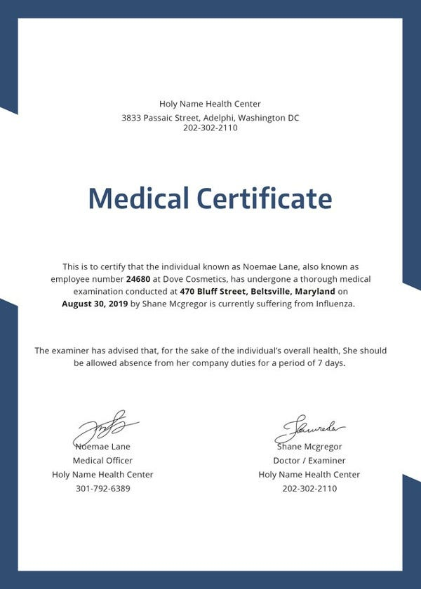 Medical Certificate Template 31 Free Word