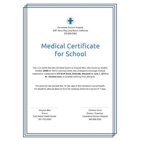 medical certificate for school template2