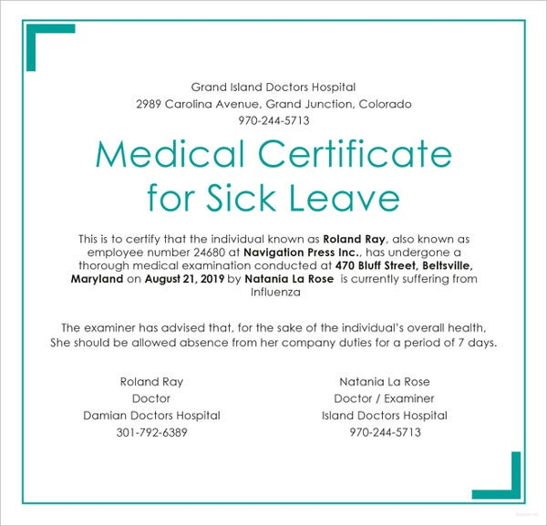 Medical certificate template 31 free word pdf for Sick certificate template