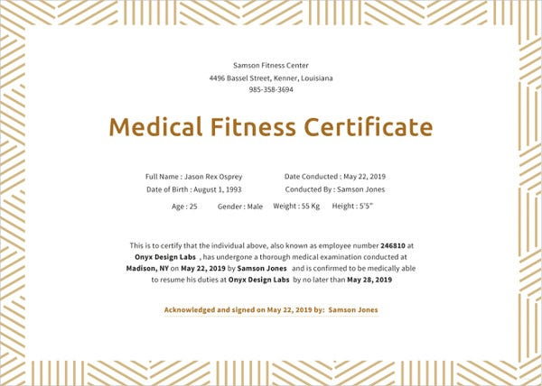 physical fitness certificate format for job pdf