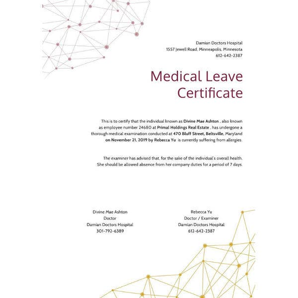 medical leave certificate template2