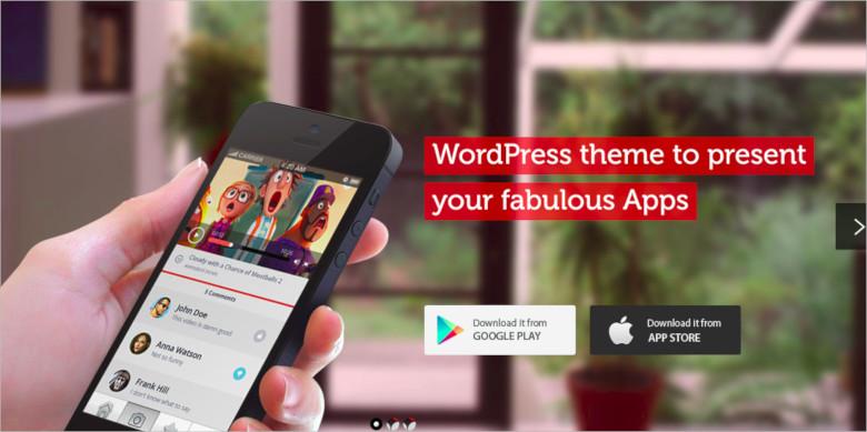 mobile app showcase wordpress theme