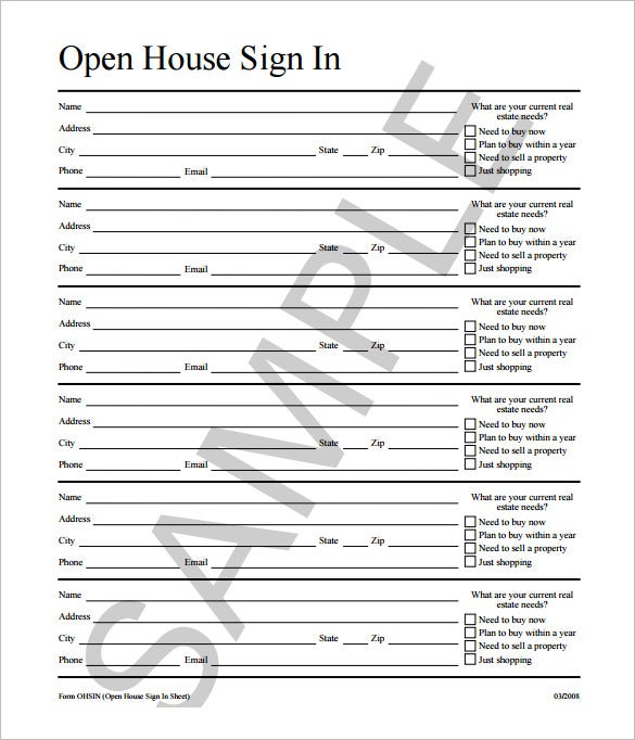 Open House Sign In Sheet Template  Excel Sign In Sheet Template