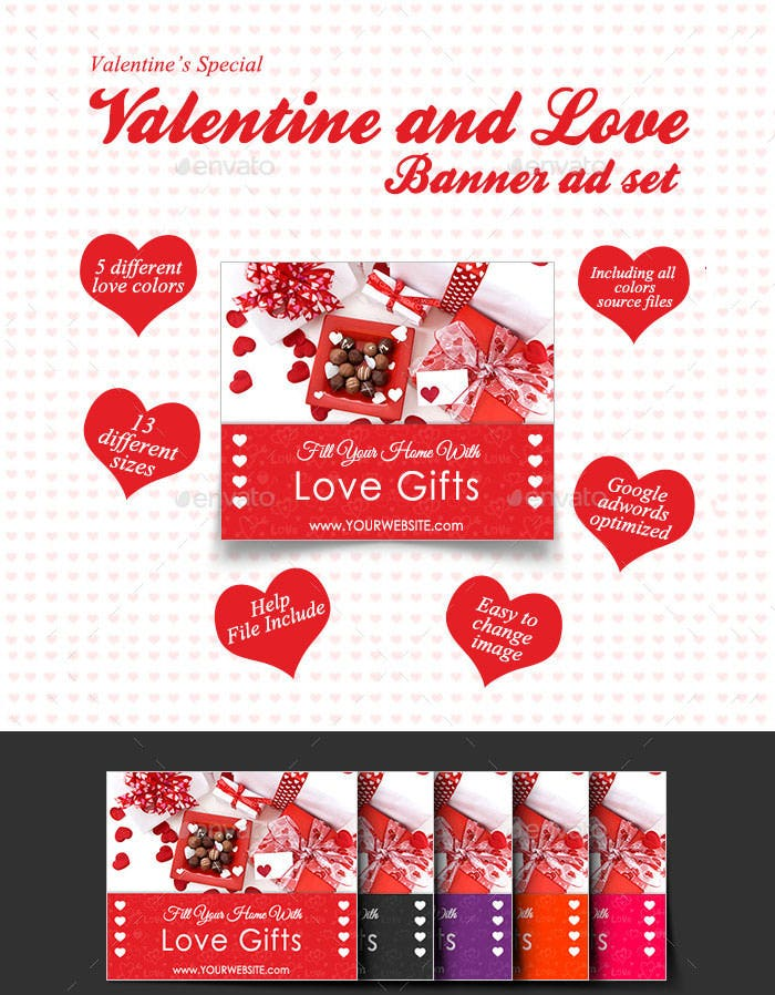 psd valentine banner set for love