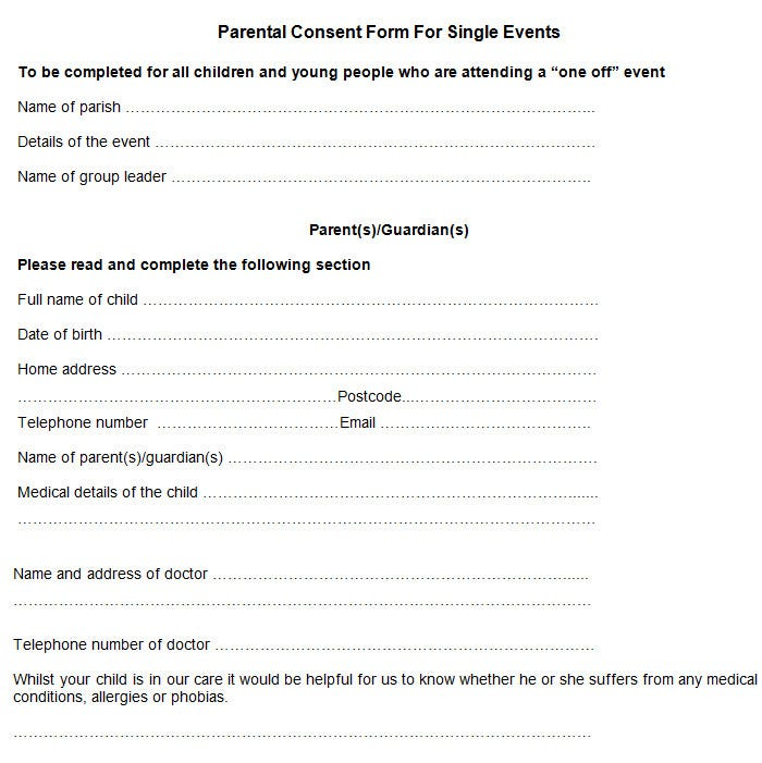 Sample parental consent form free premium templates for Consent form template for children