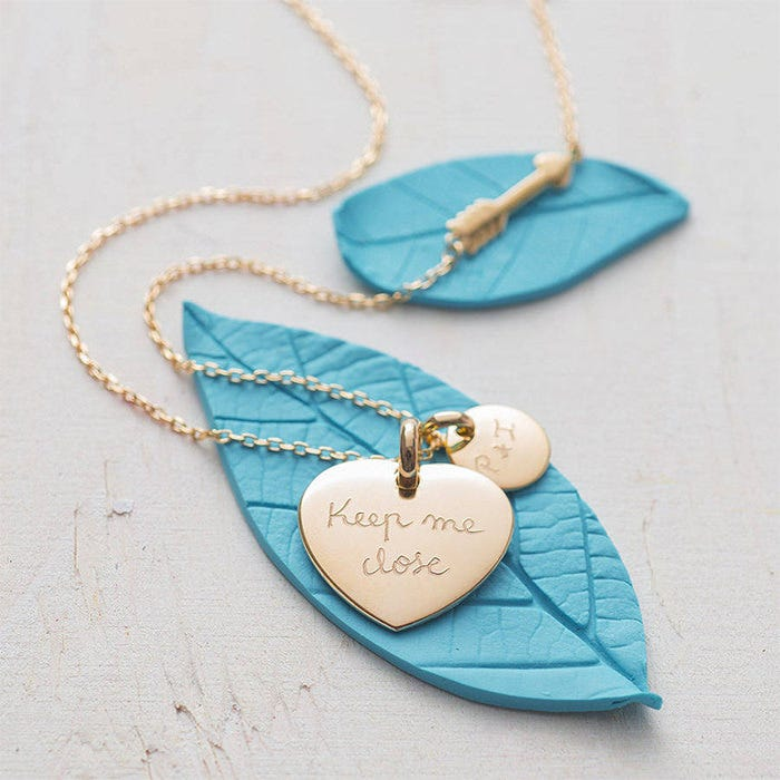 personalised charm and arrow necklace