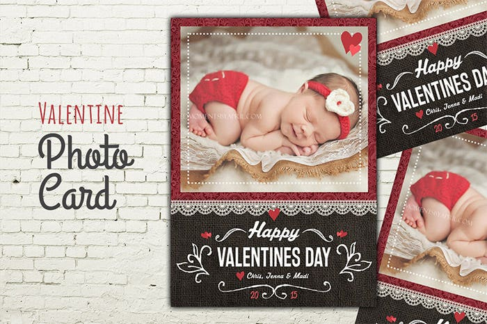 photo card valentine psd template