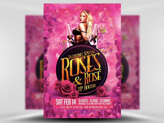 pink roses valentines flyer template