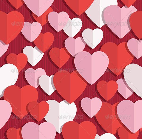 pink white valentine heart pattern