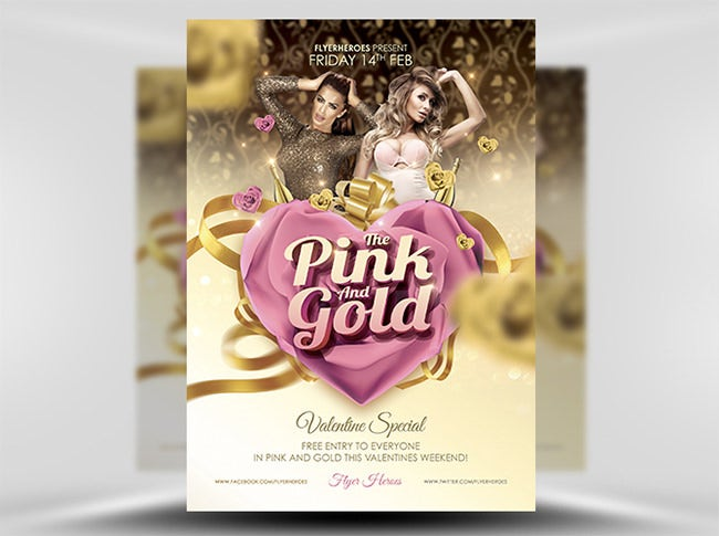 pink and gold valentines flyer template