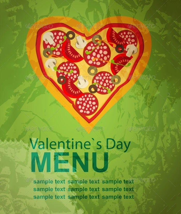 pizza menu template on valentines day