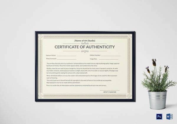 printable authenticity certificate template
