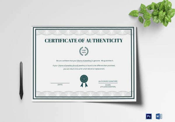 Certificate Of Authenticity Template   Free Word Pdf Psd