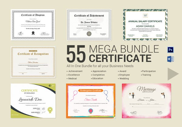 Printable Mega Certificate Bundle  Free Editable Certificate Templates For Word