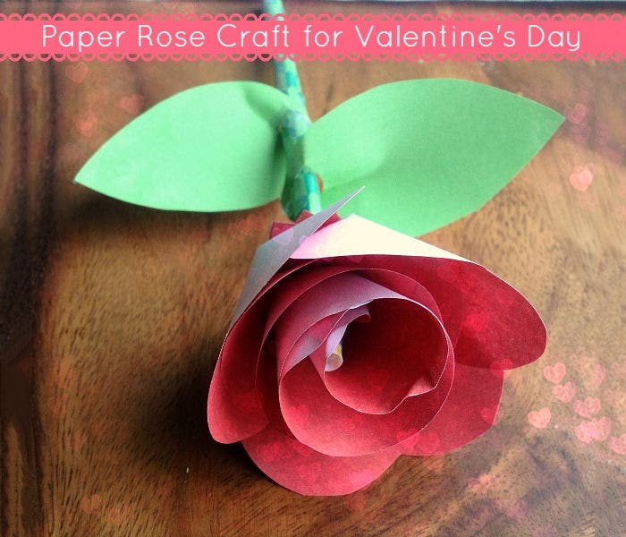 printable paper rose craft for valentines day