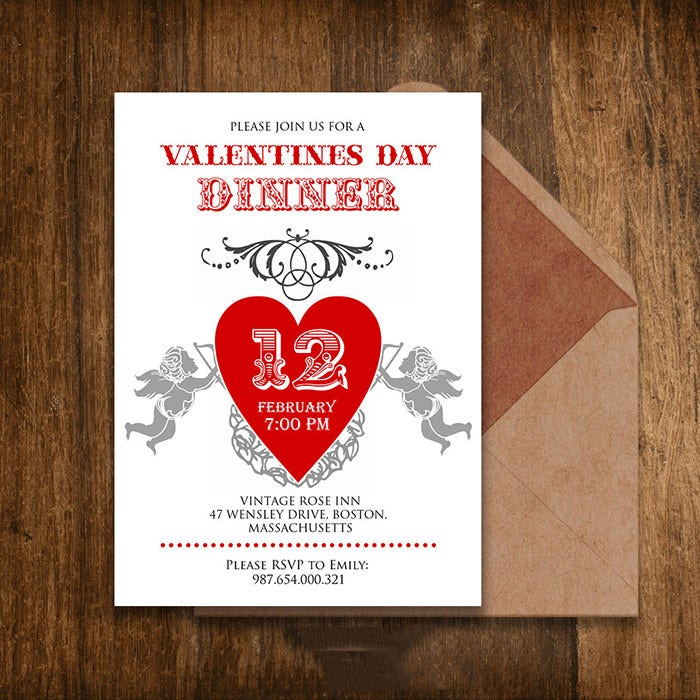 Printable Valentine Day Dinner Invitation Template