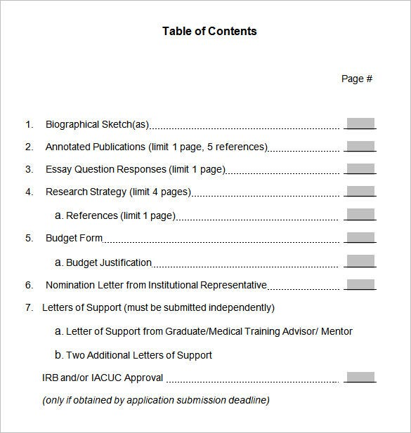 25 table of contents pdf doc free premium templates for Word 2013 table of contents template