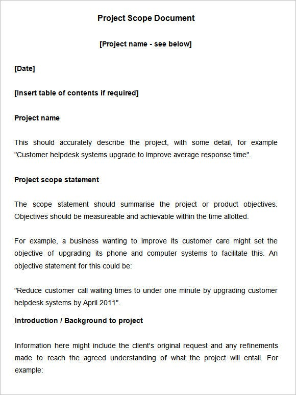 Project scope thesis