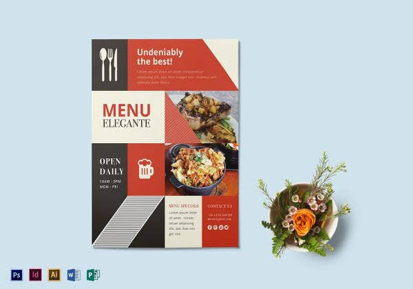 Restaurant Flyer Templates Free Word PDF PSD EPS InDesign - Menu brochure template