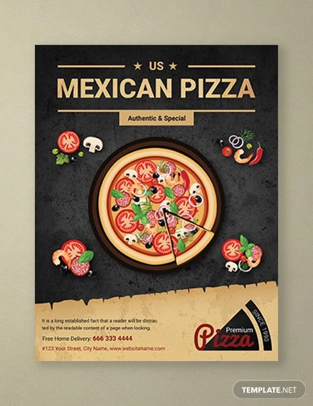 restaurant mexican pizza flyer template