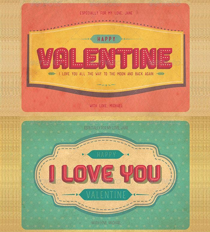 retro style 2015 valentines day greeting cards