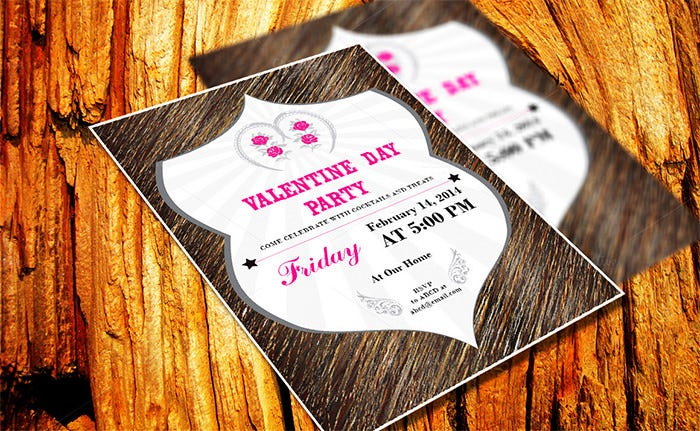 retro style valentine day invitation