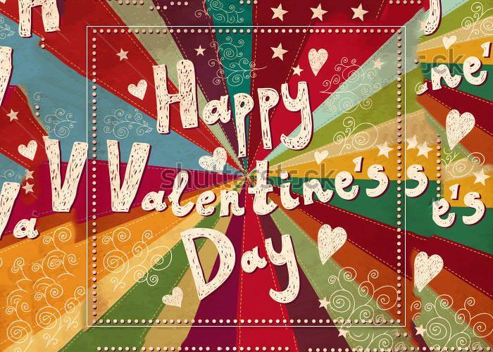 retro vector valentine greeting card design