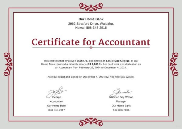 salary certificate for accountant template