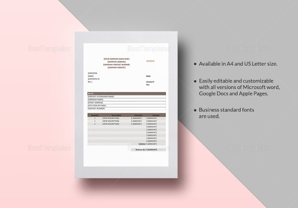 sales invoice template in word