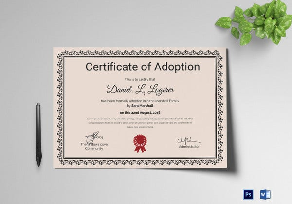 Sample Adoption Certificate Template  Free Printable Certificate Templates