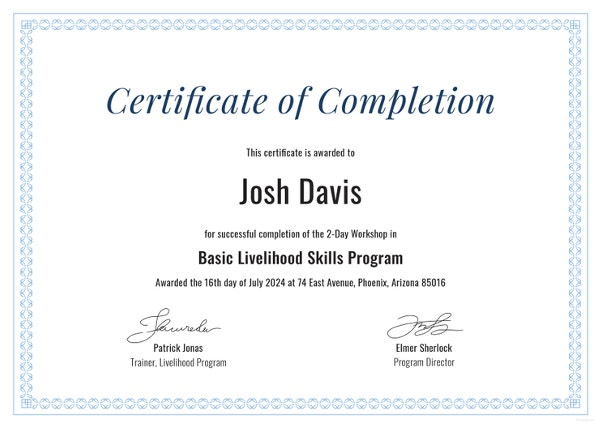 sample completion certificate