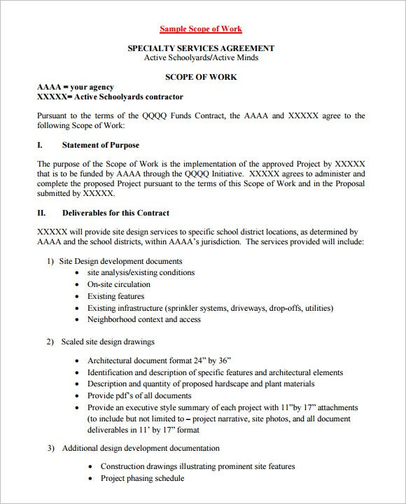 Scope of work template 36 free word pdf documents for Scope of services agreement template