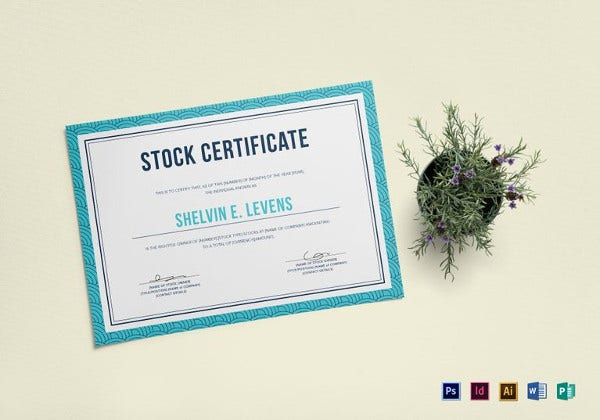 sample stock certificate template