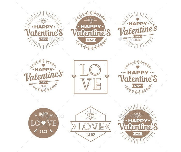 set of valentines day vintage labels 2
